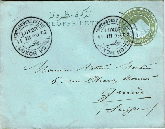 1899, 1pi postal stationery Enveloppe-Letter (NP SLS3) addressed to Geneva